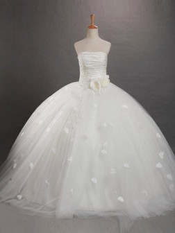 Ball Gown Strapless Ruffles Sleeveless Floor-length Net  Flower Girl Dresses