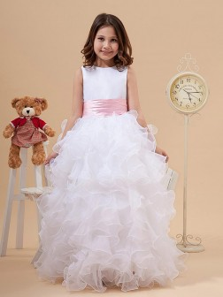 A-line/Princess Scoop Bowknot Sleeveless Floor-length Organza Flower Girl Dresses
