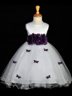 A-line/Princess Scoop Hand-made Flower Sleeveless Floor-length Organza Flower Girl Dresses