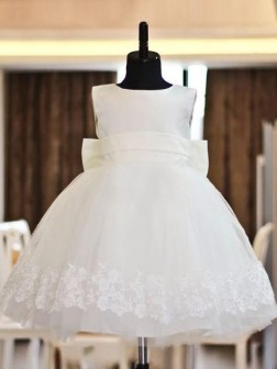 A-line/Princess Scoop Lace Sleeveless Floor-length Organza Flower Girl Dresses