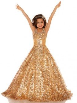 A-line/Princess Halter Sleeveless Sequin Floor-length Sequins Flower Girl Dresses