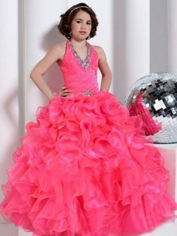 Ball Gown Halter Sleeveless Beading Floor-length Organza Flower Girl Dresses