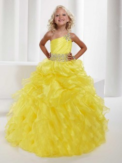 Ball Gown One-shoulder Sleeveless Beading Floor-length Organza Flower Girl Dresses