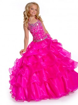 Ball Gown Halter Sleeveless Rhinestone Floor-length Organza Flower Girl Dresses