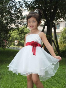 A-line/Princess Spaghetti Straps Hand-made Flower Short/Mini Organza Flower Girl Dresses