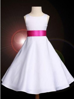 A-line/Princess Scoop Bowknot Sleeveless Floor-length Satin Flower Girl Dresses