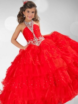 Ball Gown Halter Sequin Rhinestone Sleeveless Floor-length Organza Flower Girl Dresses