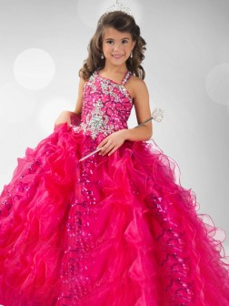 Ball Gown Straps Sequin Sleeveless Floor-length Organza Flower Girl Dresses
