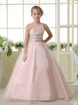 A-line/Princess One-shoulder Sleeveless Beading Floor-length Organza Flower Girl Dresses