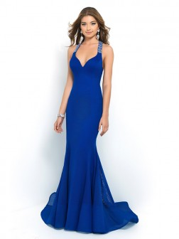 Trumpet/Mermaid Halter Sleeveless Beading Sweep/Brush Train Chiffon Dresses