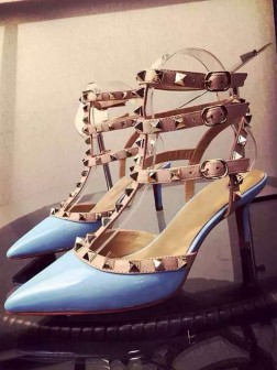Women's Patent Leather Closed Toe Stiletto Heel With Rivet Party Sandal Shoes