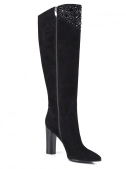 Women's Suede Chunky Heel Closed Toe With Rhinestone Knee High Boots