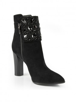 Women's Chunky Heel Suede Closed Toe With Rhinestone Booties/Ankle Boots