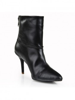 Women's Black Sheepskin Stiletto Heel Closed Toe With Zipper Booties