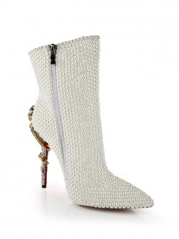 Women's Patent Leather Stiletto Heel With Pearl Mid-Calf Boots