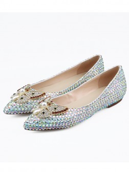 Women's Sheepskin Closed Toe With Rhinestones Flat Shoes
