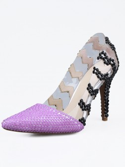 Women's Patent Leather Closed Toe Stiletto Heel With Beading Shoes