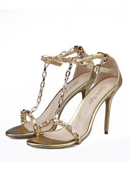 Women's Sheepskin Peep Toe With Chain Stiletto Heel Sandals