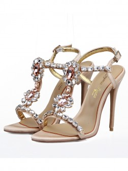 Women's Satin Peep Toe With Rhinestones Stiletto Heel Sandals