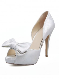 Women's Satin Peep Toe With Bowknot Stiletto Heel Sandals
