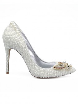 Women's Stiletto Heel Patent Leather Closed Toe With Pearl Shoes