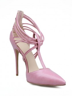 Women's Stiletto Heel Patent Leather Closed Toe With Zipper Shoes