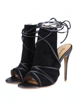 Women's Peep Toe Suede Stiletto Heel With Buckle Sandals