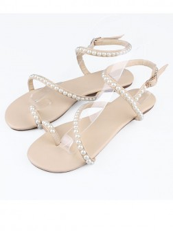 Women's Sheepskin Flat Heel Peep Toe With Buckle Sandals