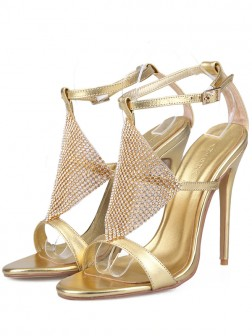 Women's Leather Peep Toe Stiletto Heel Sandals