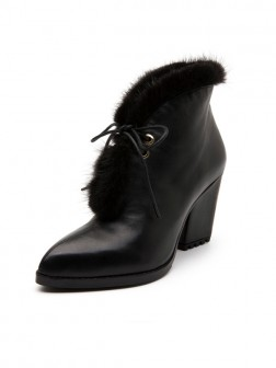 Women's Sheepskin Closed Toe Thick Heel Boots