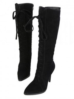 Women's Suede Closed Toe Stiletto Heel Boots
