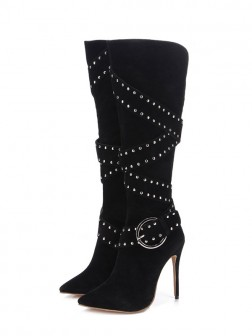 Women's Flock Closed Toe Stiletto Heel Boots