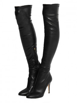 Women's PU Closed Toe Stiletto Heel Boots