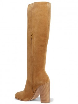 Women's Flock Closed Toe Thick Heel Boots