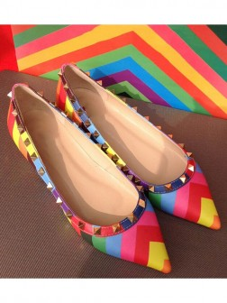 Women's Colorful Flat Heel Sheepskin Closed Toe With Rivet Party Shoes