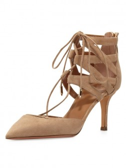 Women's Stiletto Heel Suede Closed Toe With Lace-up Sandal Shoes