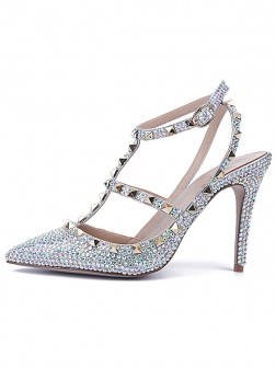 b39b607b862 Women s Stiletto Heel Patent Leather Closed Toe With Rhinestone Sandal Shoes