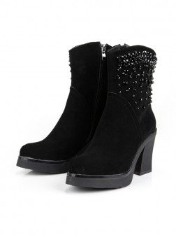Women's Chunky Heel Platform Closed Toe Suede With Zipper Mid-Calf Boots