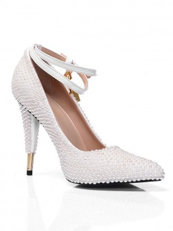 Women S White Patent Leather Closed Toe Cone Heel With Pearl Wedding Shoes