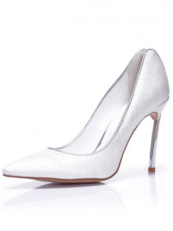 Women's Sheepskin Closed Toe Stiletto Heel With Snake Print Wedding Shoes