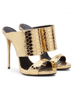 Women's Gold Sheepskin Peep Toe Stiletto Heel Sandal Shoes