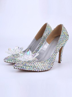 Women's Patent Leather Cone Heel Closed Toe With Flower Shoes