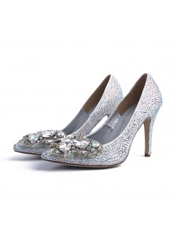 Women's Closed Toe Stiletto Heel With Rhinestone Wedding Shoes