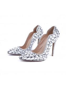 Women's Patent Leather Closed Toe Stiletto Heel With Rhinestone Wedding Shoes