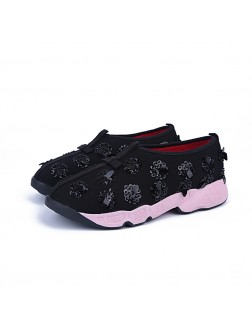 Women's Net Flat Heel Closed Toe Casual Fashion Sneakers
