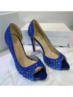 Women's Suede Platform Peep Toe Stiletto Heel With Rhinestone Sandal Shoes