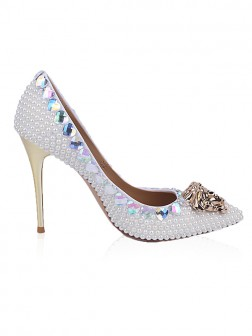 Women's Patent Leather Closed Toe Stiletto Heel With Rhinestone Pearl Shoes