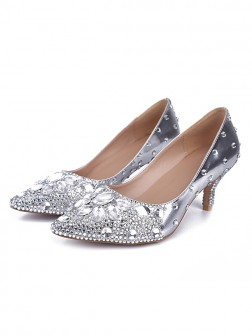 Women's Sheepskin Closed Toe Cone Heel With Rhinestone Wedding Shoes