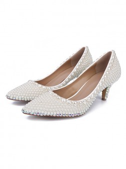 Women's Patent Leather Closed Toe Cone Heel With Pearl Wedding Shoes