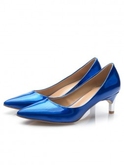 Women's Royal Blue Patent Leather Closed Toe Cone Heel Party Shoes